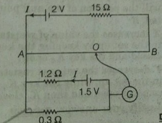 In the following potentiometer, circuit AB is a uniform wire