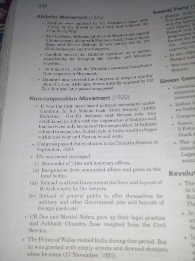programmes of non cooperation movement