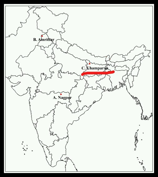 Mark Champaran Bihar On Political Map Of India Social Science