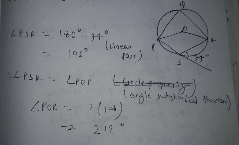 In the given figure Find the value of reflex angle POR
