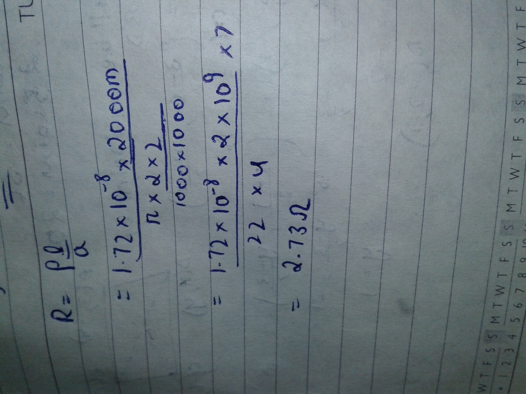 Q 10 Calculate the resistance of 2 km long copper wire of radius 2 ...