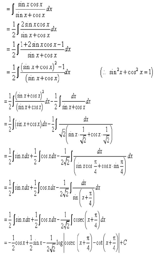 Integrate Sinxcosx Sinx Cosx Math Integrals 12425597 Meritnation Com