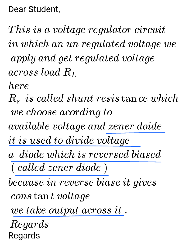 This Is A Merit Answer The Lines Ive Underlined Got Me Confused Shunt Voltage Regulator Circuit Kindly Have Look If Theres Any Mistake Not Error Then Write It In
