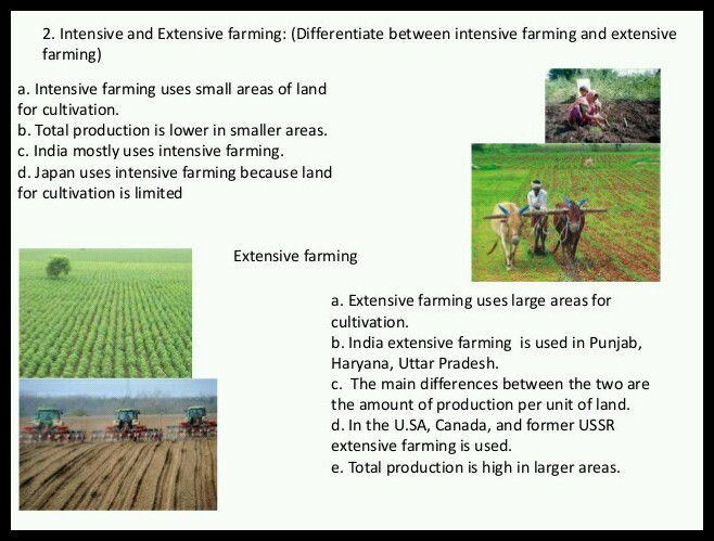 Differentiate between intensive and extensive farming in 4-5