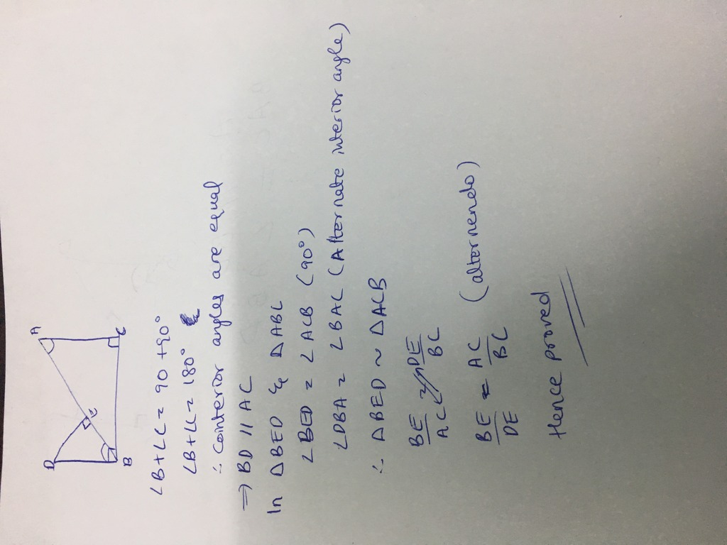 IN THE GIVEN FIGURE, DB IS PERPENDICULAR TO BC, DE IS PERPENDICULAR ...