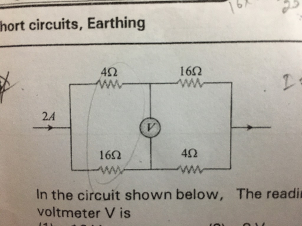 In the circuit shown below , the reading of the voltmeter V is hort ...