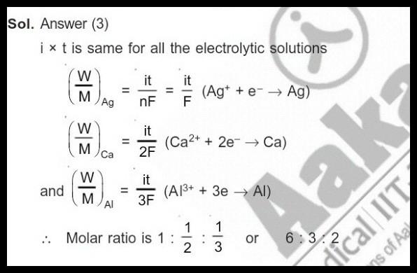 Q ):- Three faraday of electricity is passed through three
