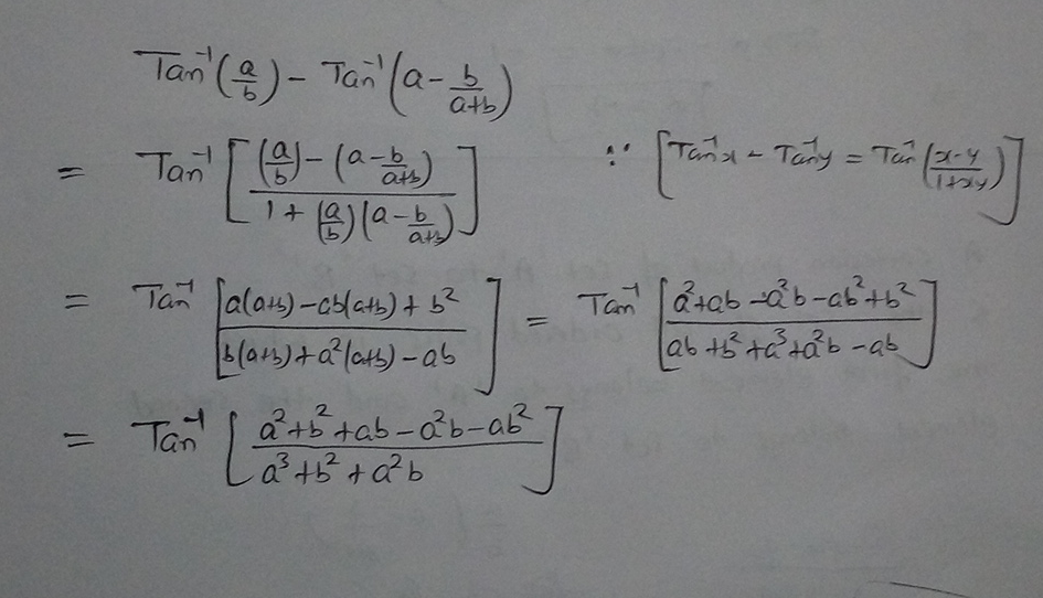 solve this q write the value of tan1abtan1abab