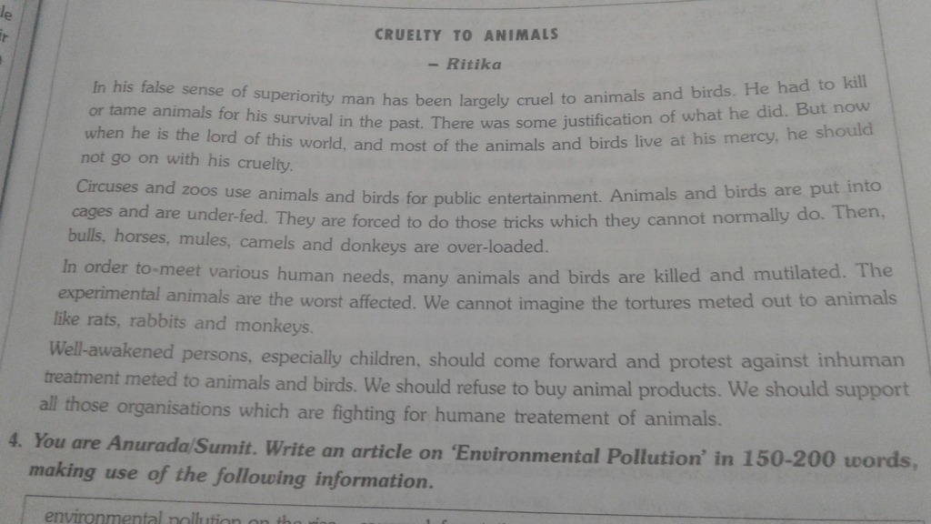 paragraph on cruelty towards animals