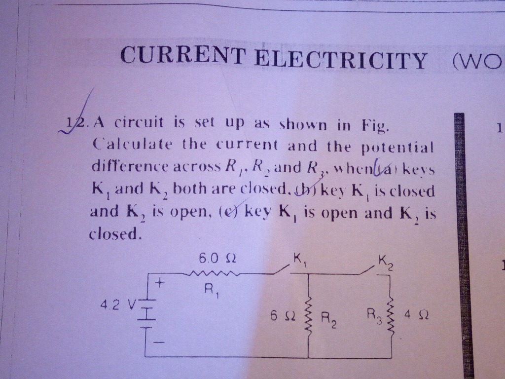 Solve This Problem Please 1 Current Electricity A Circuit Is Set Up Potential Difference In Series Across As Fig Calculate The And Diftcrence Ri
