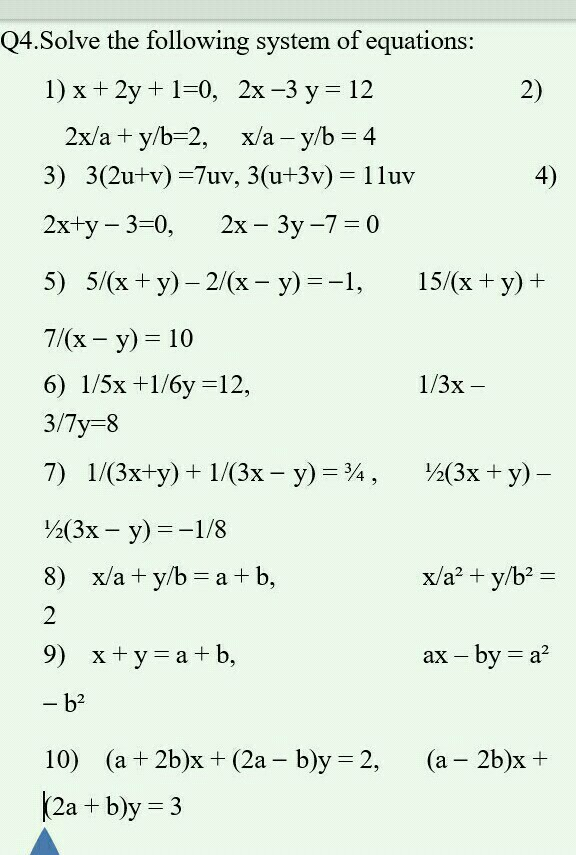 Solve The Following System Of Equations 1 X 2y 10 2x 3 Y