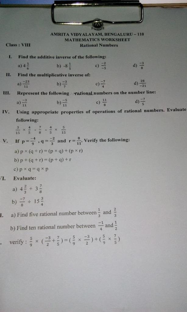 Answer Fast It Is Urgent And Please Dont Send Link AMRITA VIDVALAYAM,  BENGALURU - 110 MATHEMATICS WORKSHEET Rational Numbers Class - Maths - Rational  Numbers - 12791791 Meritnation.com