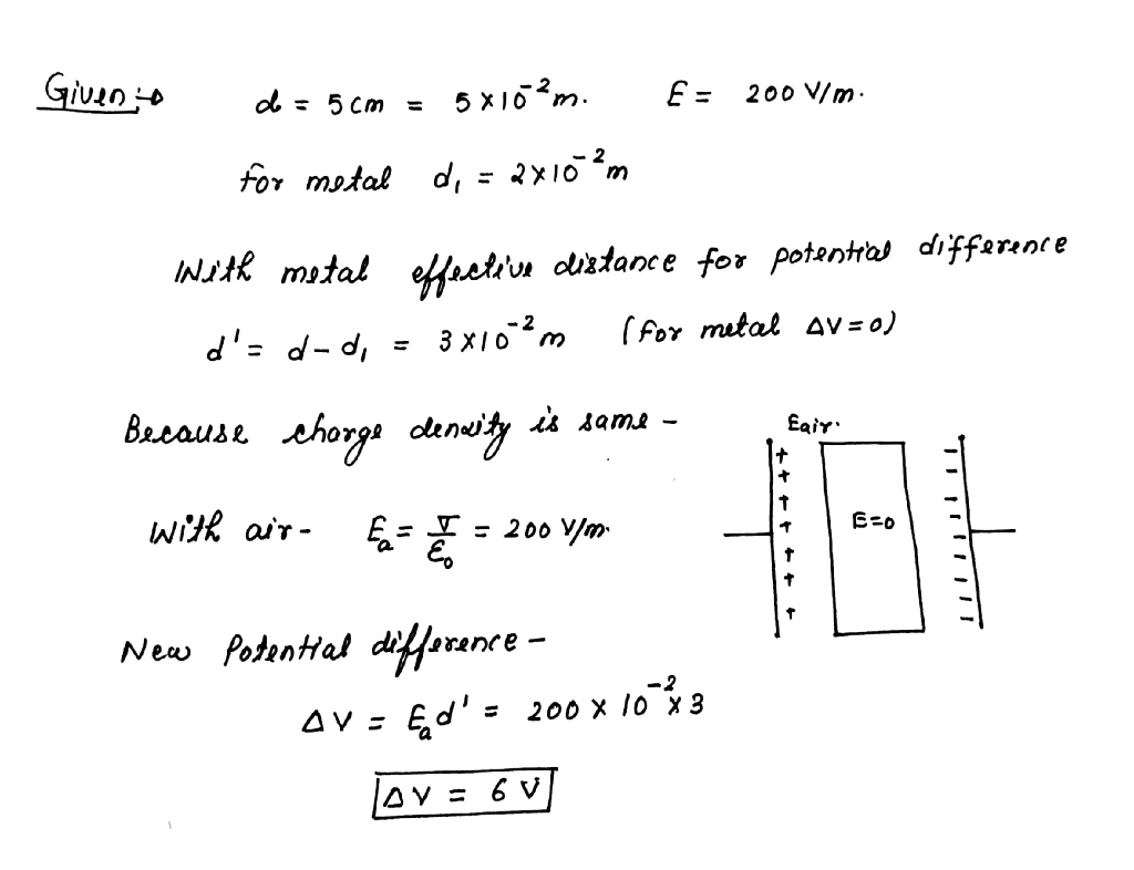 The Distance Between Plates Of A Charged Parallel Plate Capacitance And Charge On Capacitors Is 5cm Electric Field Inside 200 V Cman Uncharged Metal Bar