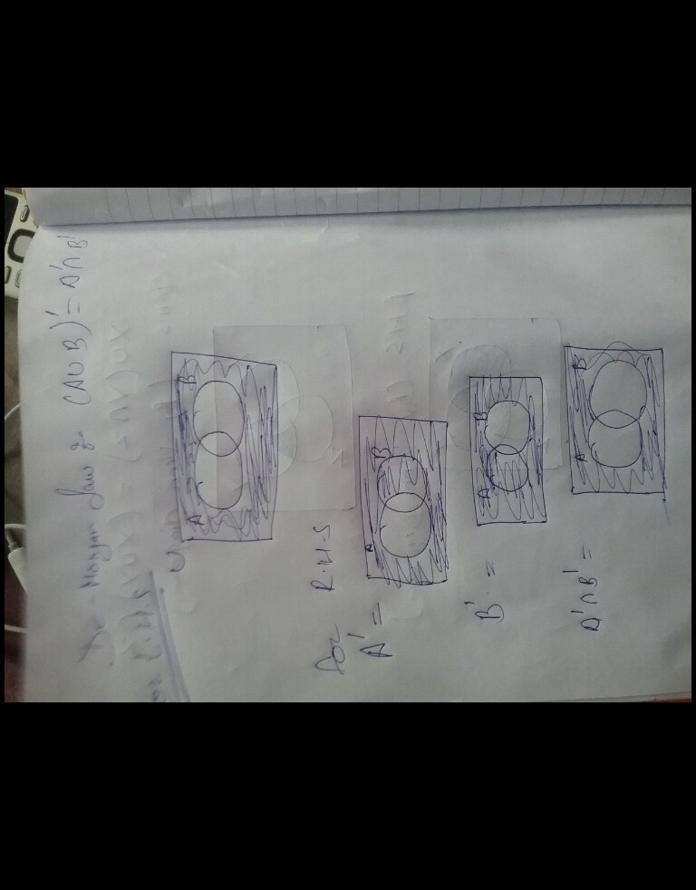show how to verify the demorgan u0026 39 s law in venn diagrams