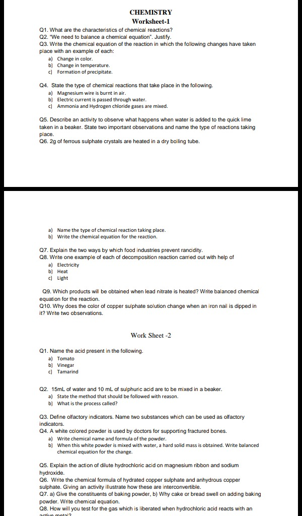 worksheet 2) ques no 3 CHEMISTRY wo rksheet-l QI What are ...