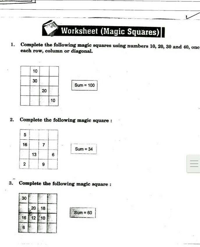 Please Solve This Magic Squares Worksheet Magic Squares 1 Complete