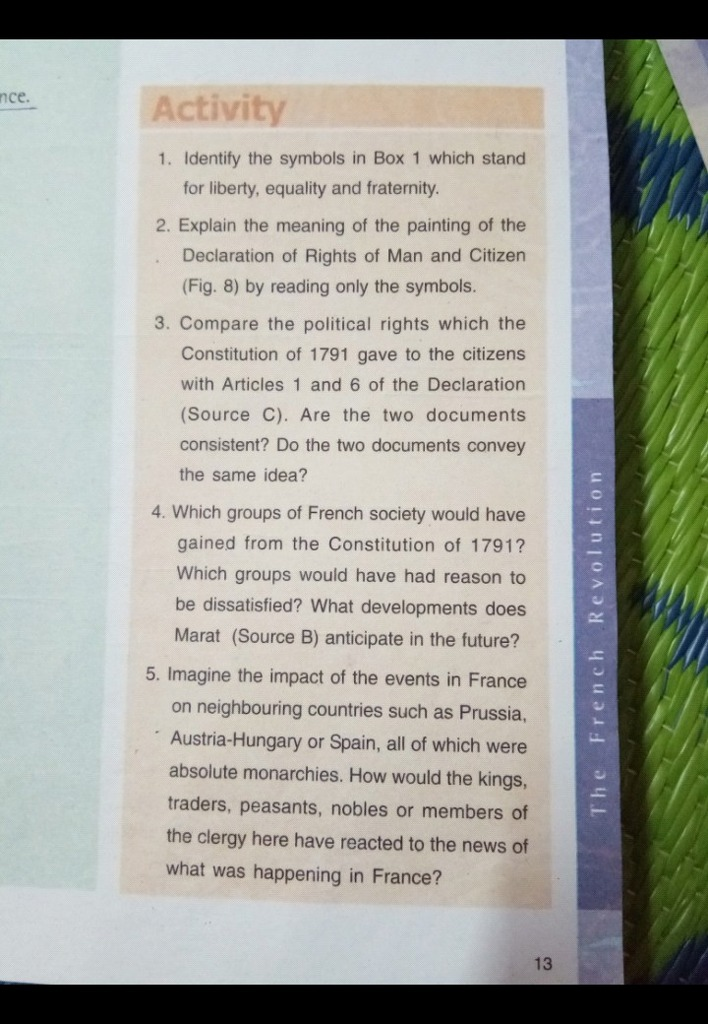 French Revolution Pages 13 Activity 1 Identity The Symbols In Box 1