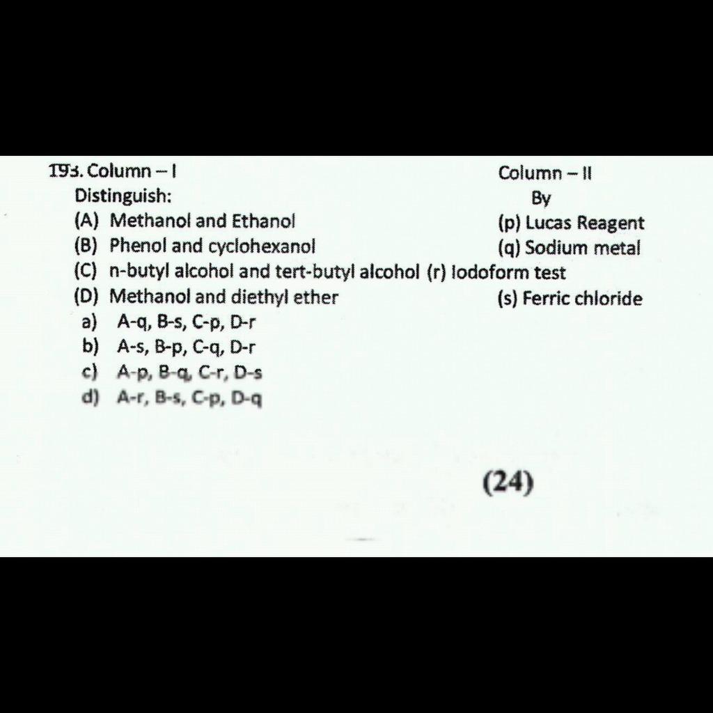 Answer please m Column - I Distinguish: Column — II By (p) Lucas