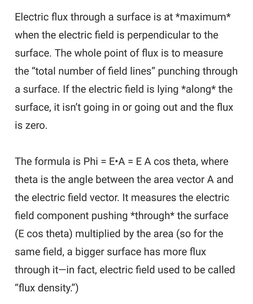Why Electric flux is minimum when teta equal to 90 Explain