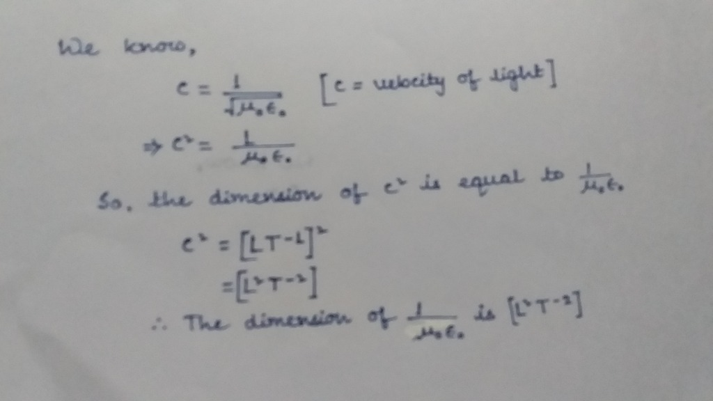 Dimension Of 1u0e0 Where Symbols Have Their Usual Meanings Physics