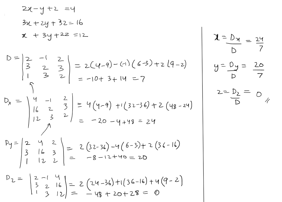 Using Cramers Rule Solve The Following Sysyem Of Equations 2x Yz