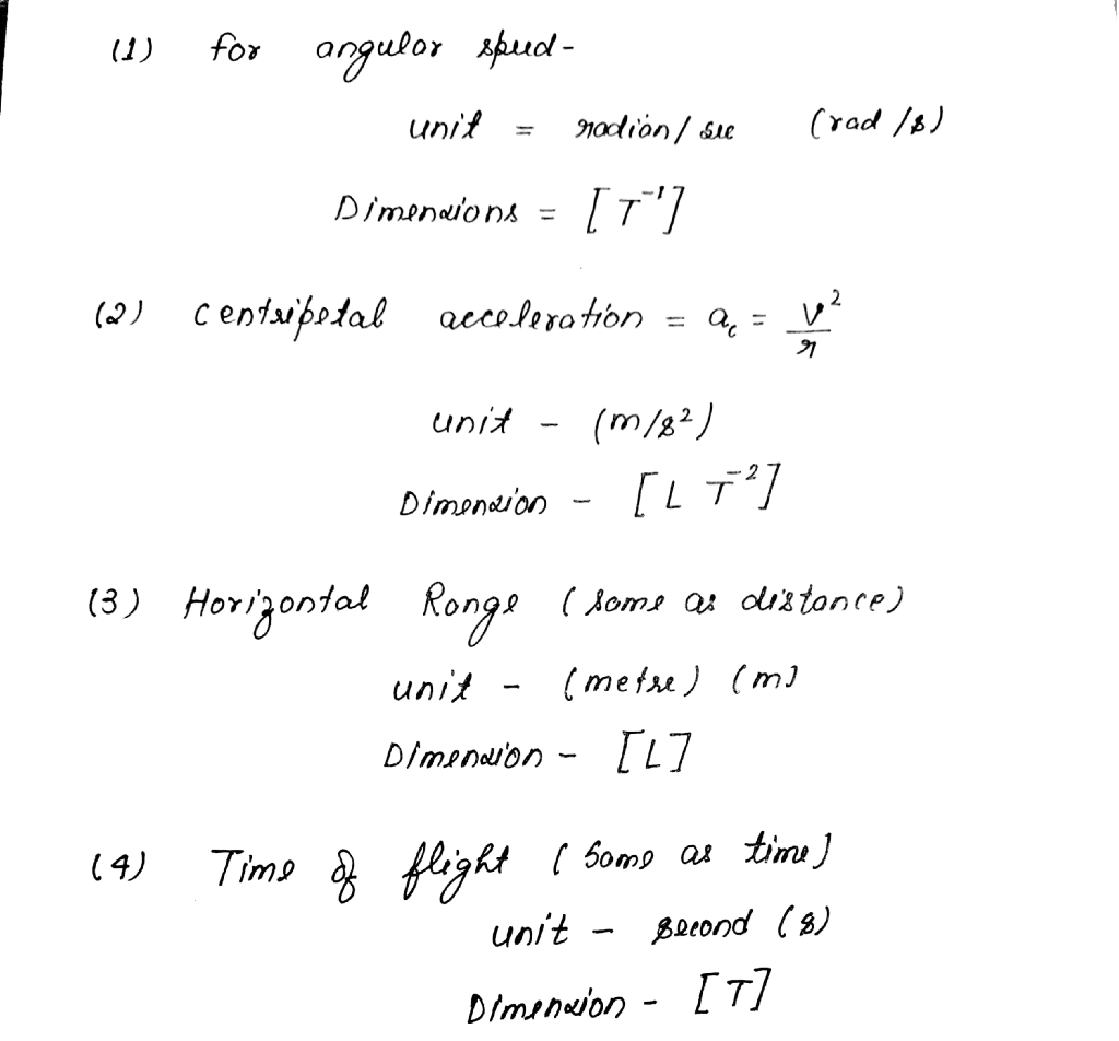 Give the dimensional formula and SI unit of the following qualities