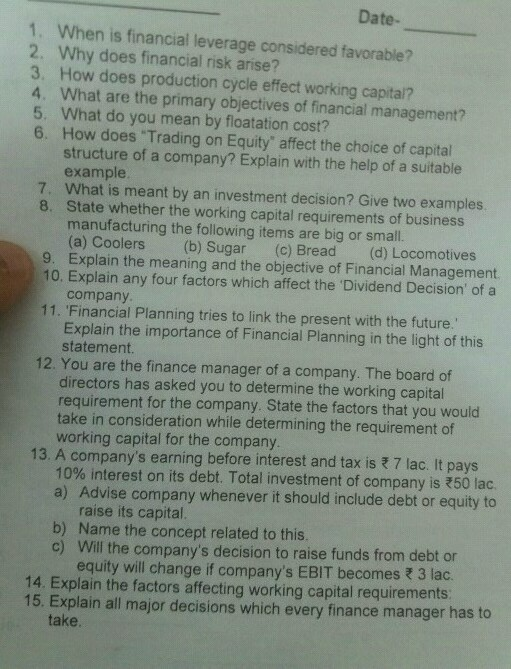 Answer of this all questions!! Plz 2 3 5 6 Date- When IS