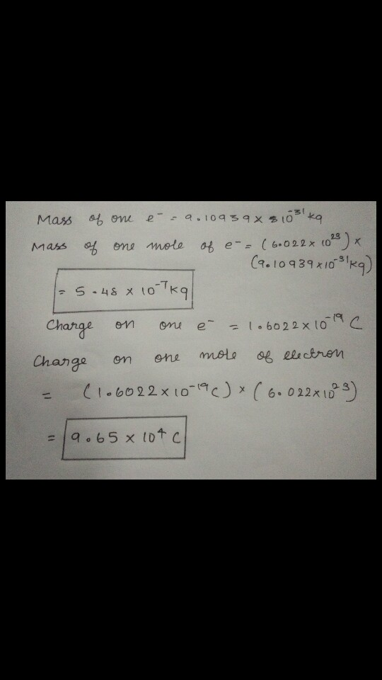 Mass Of 1 Mole Of Electron