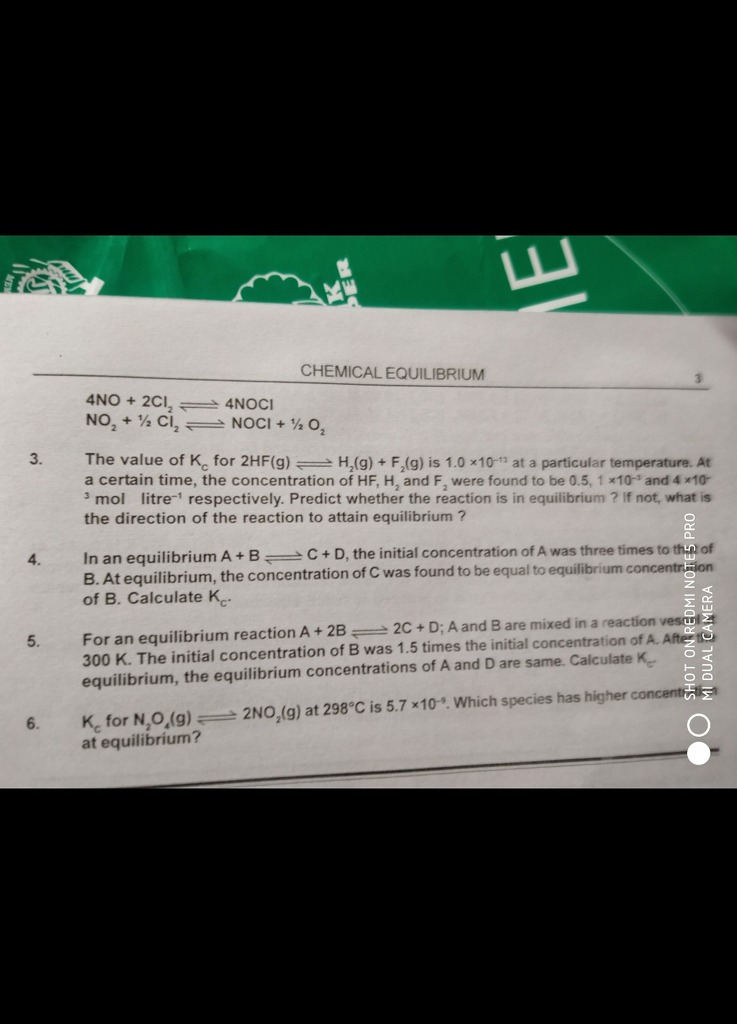 Tell me answers bplz 3 4 5 6 CHEMICAL EQUILIBRIUM 4NO + 2Cl