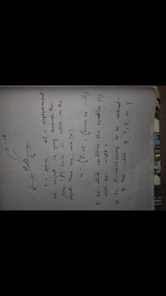 In which condition the equation (W=F costheta ds)will be