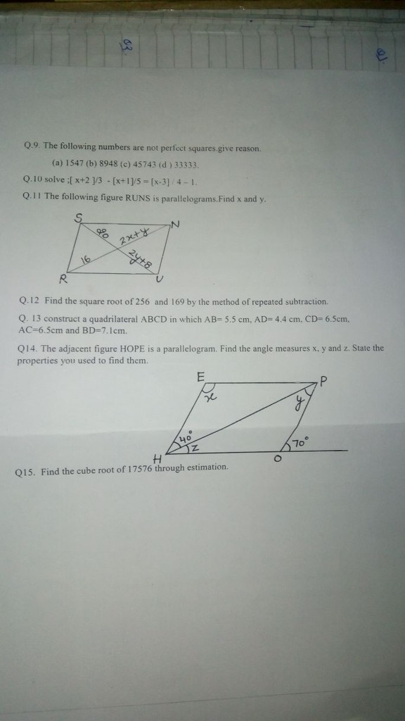 Find The Square Root Of 256 And 169 By The Method Of Repeated Subtraction Math Practical Geometry 13018867 Meritnation Com