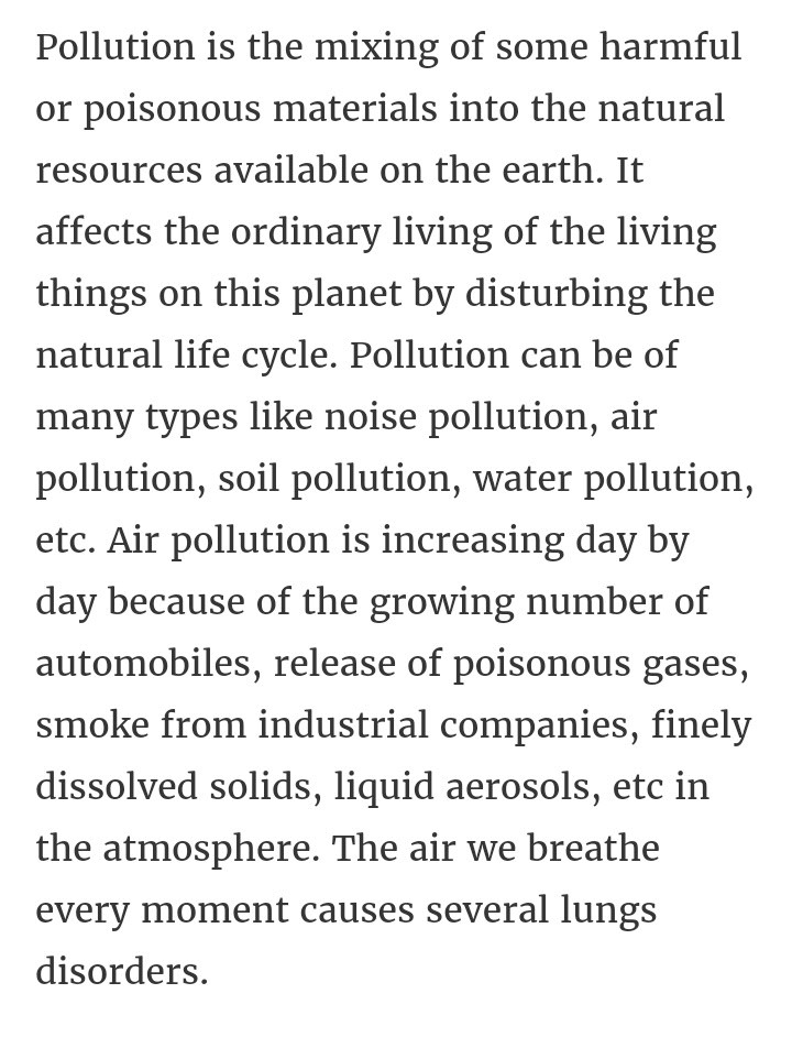 A Paragraph On Pollution In Adout  Words  English  Answer