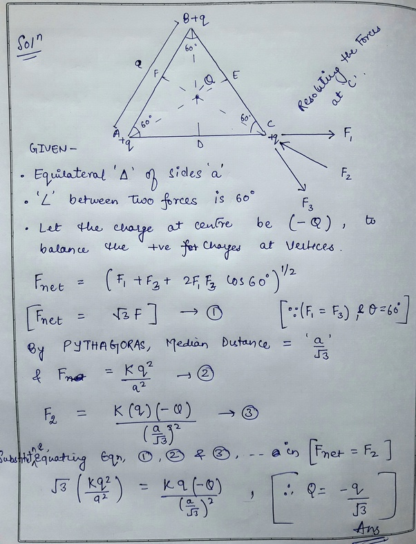 Three Point Charges +q Each Are Kept At The Vertices Of An