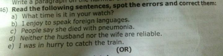 errors in english sentences
