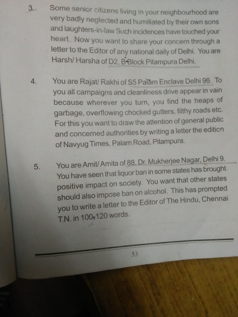 Formal Letter, Popular Questions: CBSE Class 10 ENGLISH, Writing