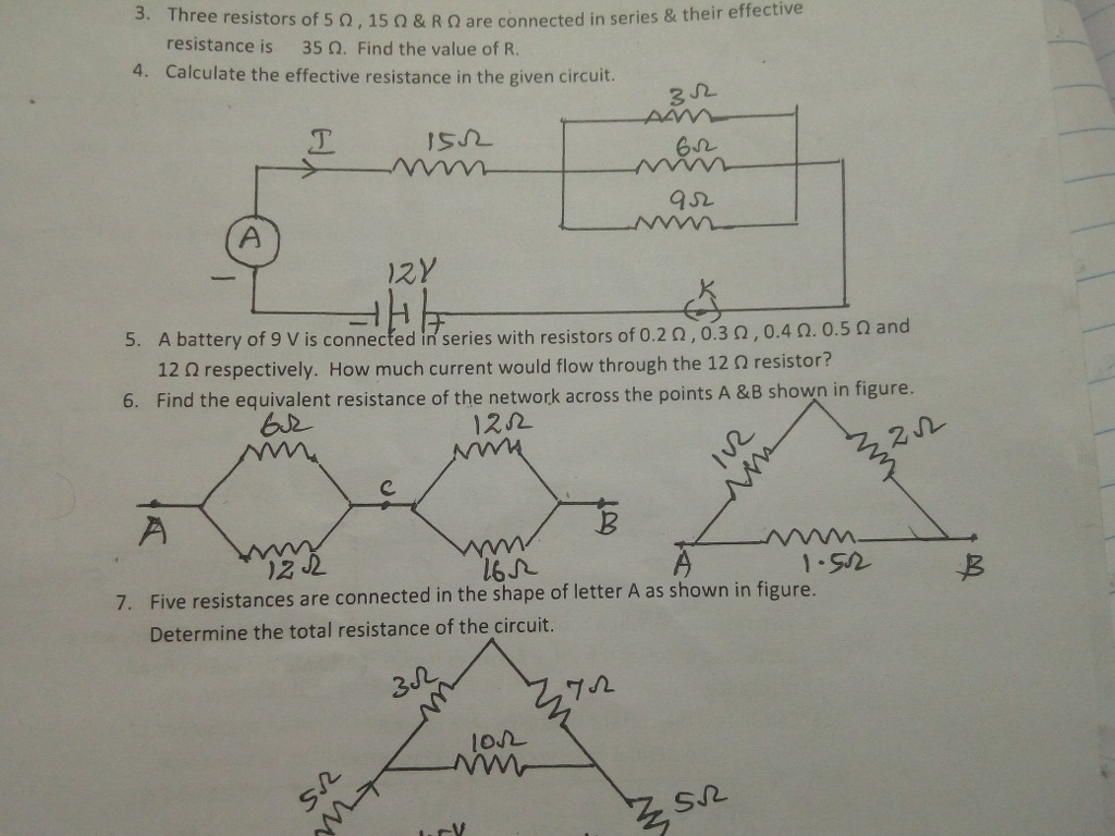 Find The Equivalent Resistance Of Network Across Points A And B Total In Series Circuit Shown Both Figures