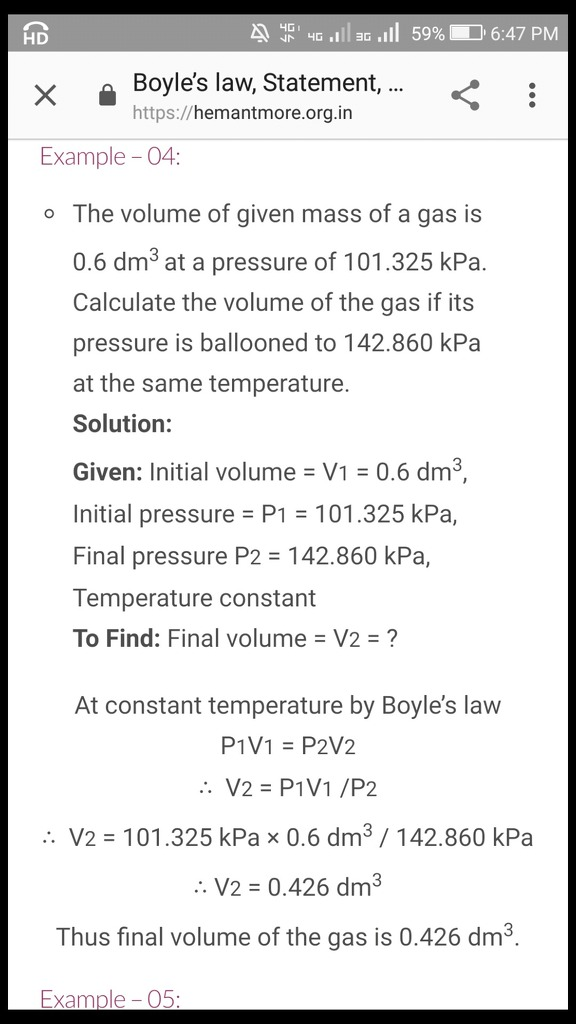 The volume of given mass of gas with 0 6 dm3 at a pressure