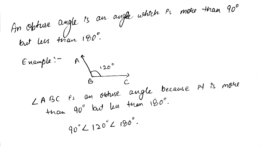 What is obtuse angle with example - Math - Understanding