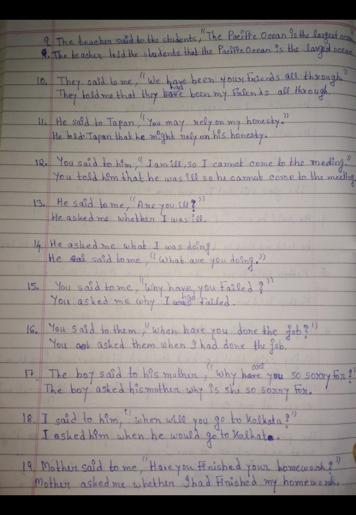 Please check this narration exercise No links please The answers are