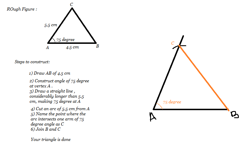 Construct A Triangle ABC In Which AB 45cm AC55cm And Angle BAC75 Degree