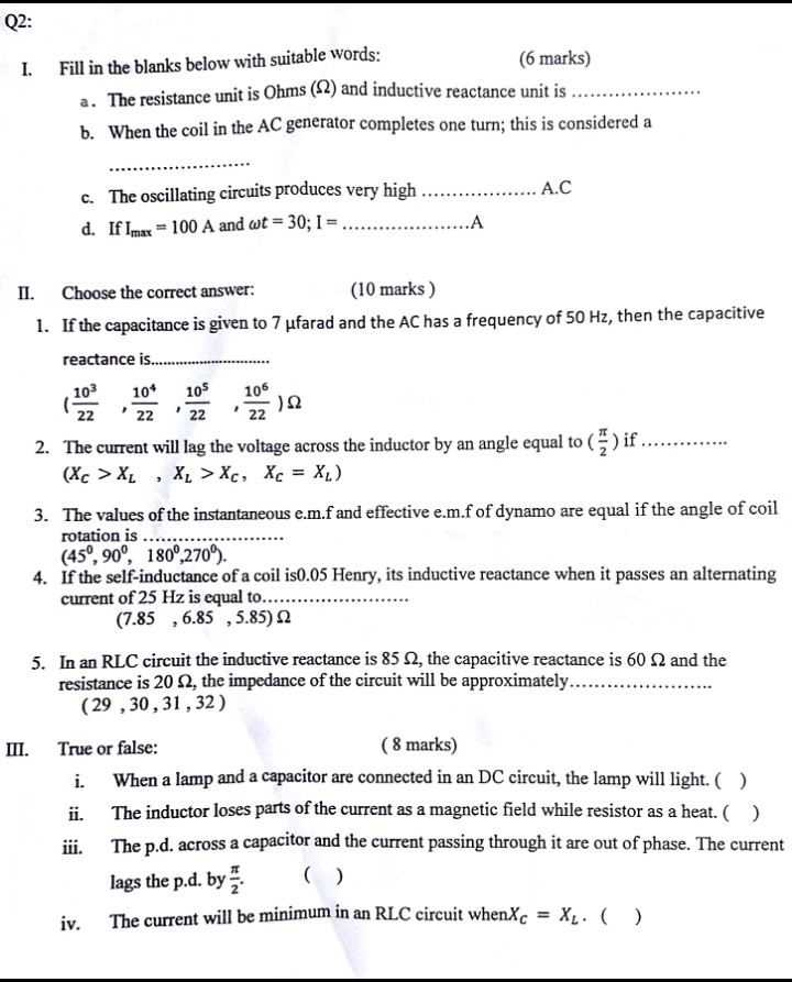 Please help for my tomorrow's exam Q2: I Fill in the blanks