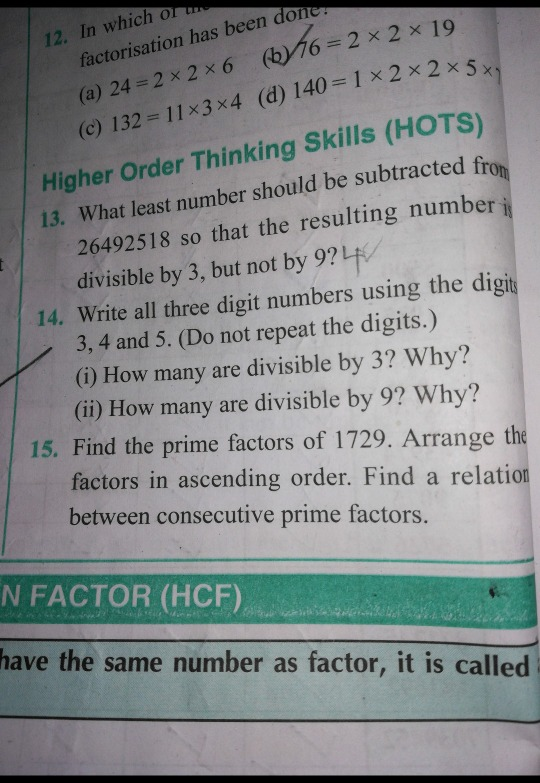 Method and answer for these 3 questions factorisation has been (C) 132 =11x3x4 (d) 140=1 Higher ...