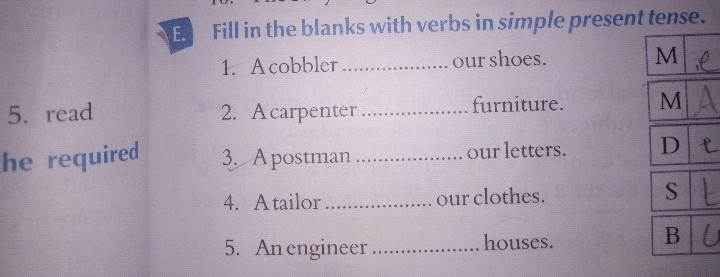 pls ans me 5 read he required Fill in the blanks with verbs in