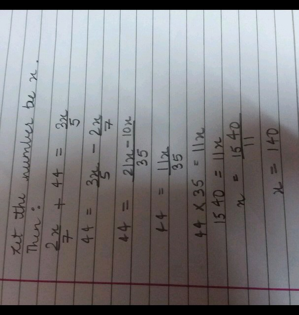 If 3/5 Of A Number Exceeds Its 2/7 By 44 , Find The Number