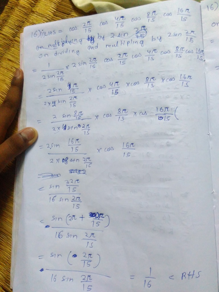 Prove That Cos2 15 Cos4 15 Cos8 15 Cos16 15 1 6 Math Trigonometric Functions 9206659 Meritnation Com