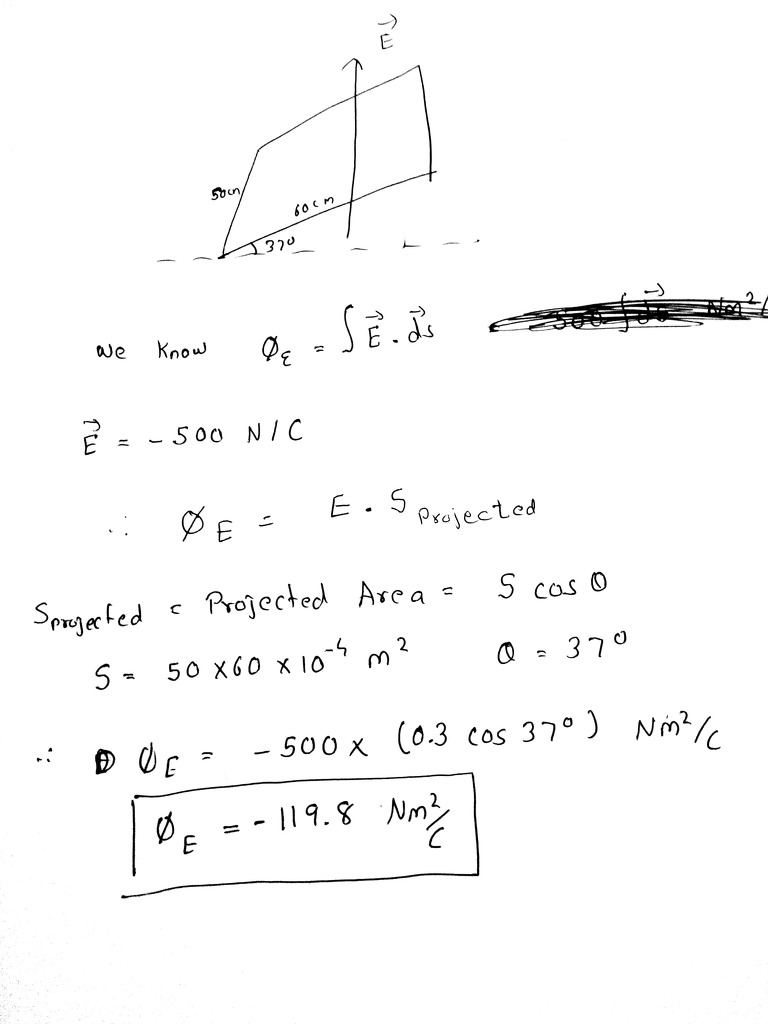 A Flat Plate With Dimensions 50 Cm Into 60 Cm Is Set With Its Plane At 37  Degree To A - Physics - Electric Charges And Fields - 13691527 |  Meritnation.com