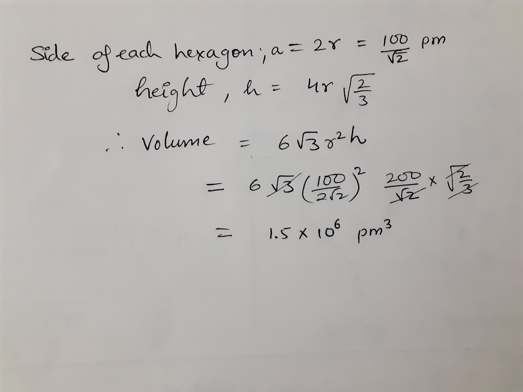 Given length of side of hexagonal unit cell is 100/√2 pm