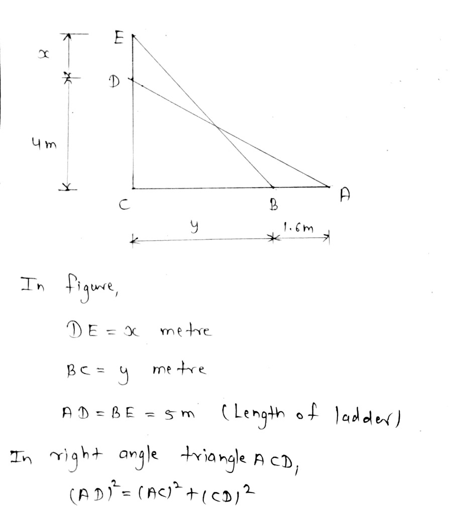 Help Me Out With This Qq Ii A 5 M Long Ladder Is Placed Leaning Towards A Wall Such Math Triangles 13758637 Meritnation Com