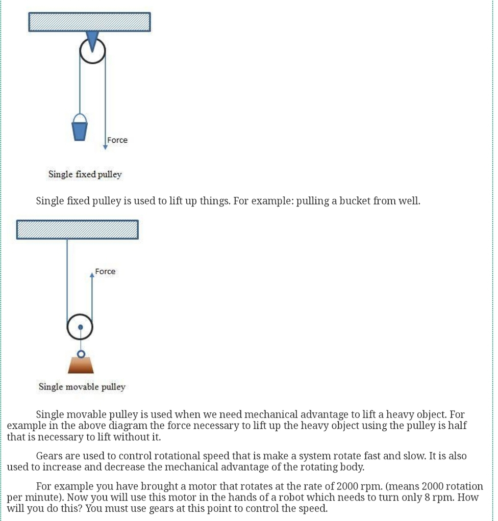 Explain single movable Pulley and single fixed pulley - Physics