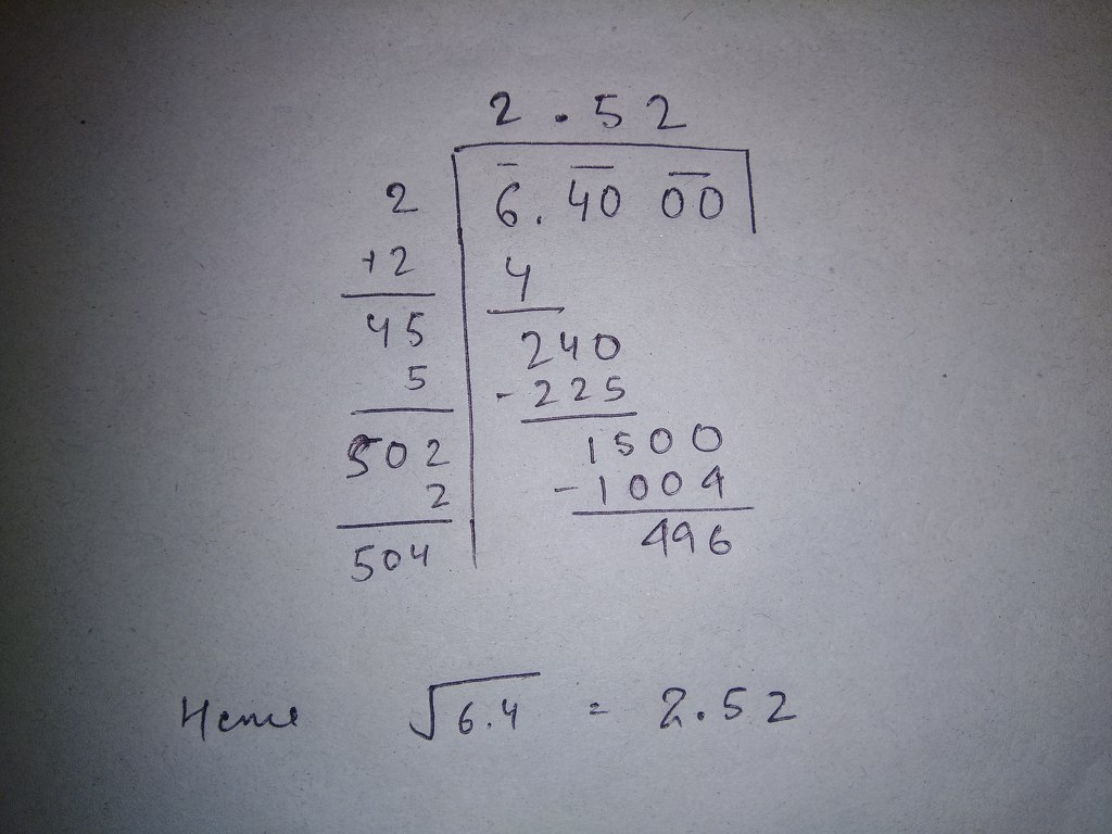Find The Square Root Of 6 4 By Long Division Method Correct Upto 2 Decimal Places Math Squares And Square Roots 14288701 Meritnation Com Take the square root of both sides of the inequality to eliminate the exponent on the left side. find the square root of 6 4 by long